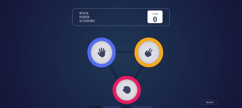 Desktop design screenshot for the Rock, Paper, Scissors game coding challenge