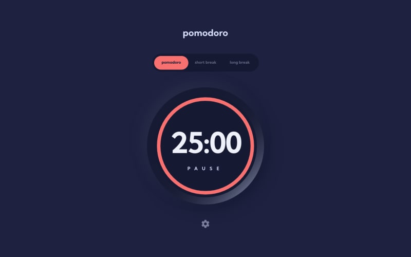 Desktop design screenshot for the Pomodoro app coding challenge