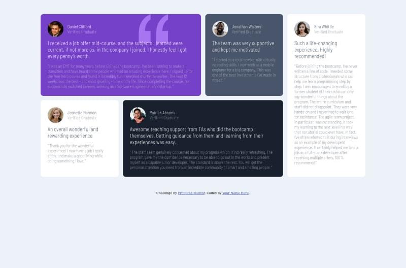 Desktop design screenshot for the Testimonials grid section coding challenge