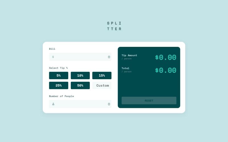 Desktop design screenshot for the Tip calculator app coding challenge