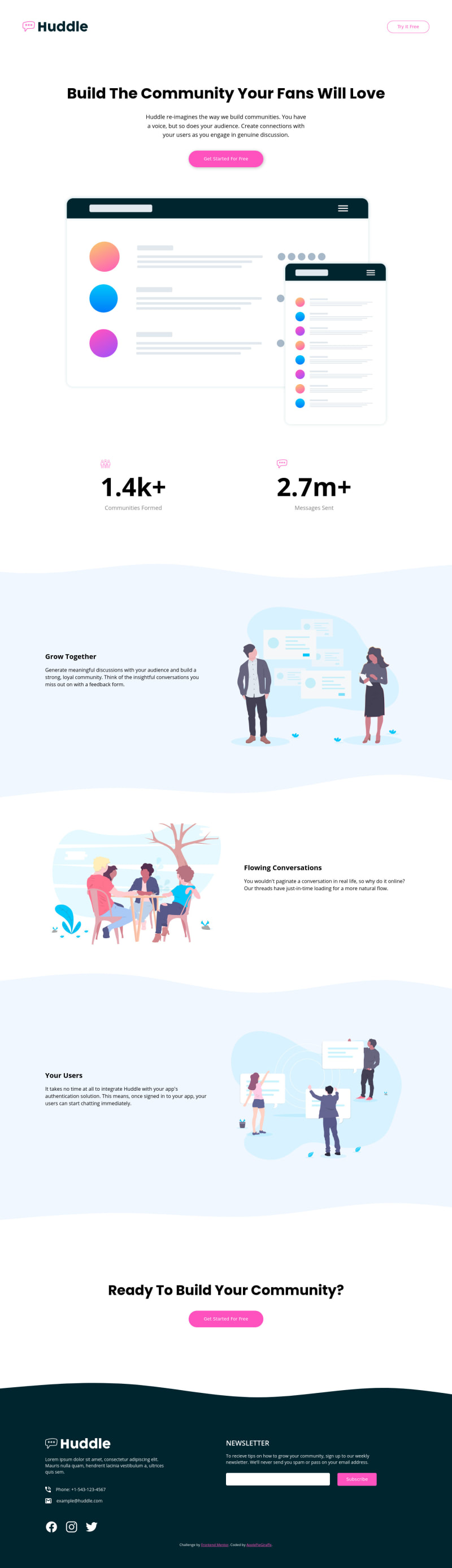 Desktop design screenshot for the Huddle landing page with curved sections coding challenge
