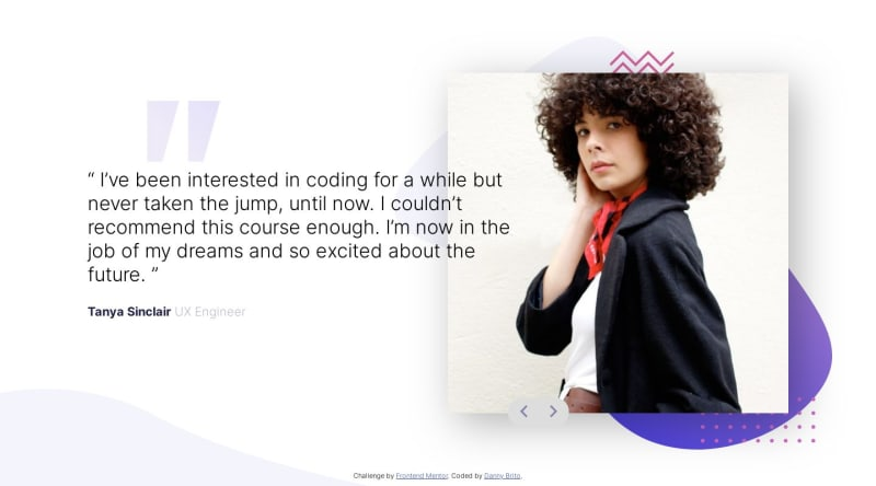 Desktop design screenshot for the Coding bootcamp testimonials slider coding challenge