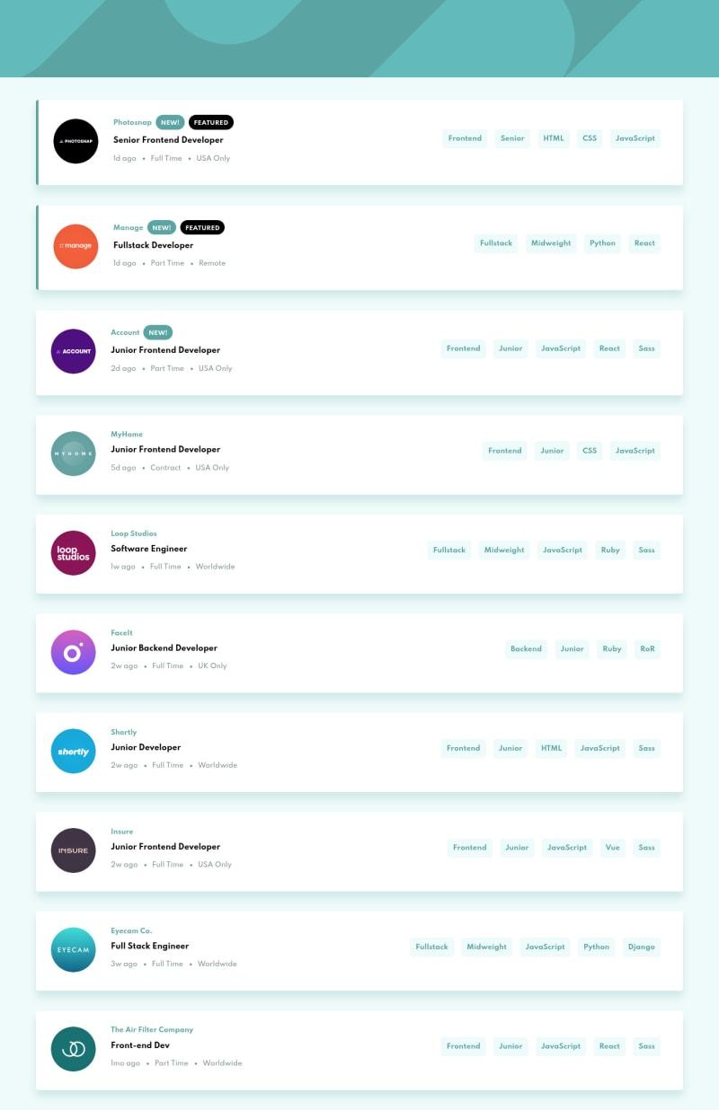 Desktop design screenshot for the Job listings with filtering coding challenge