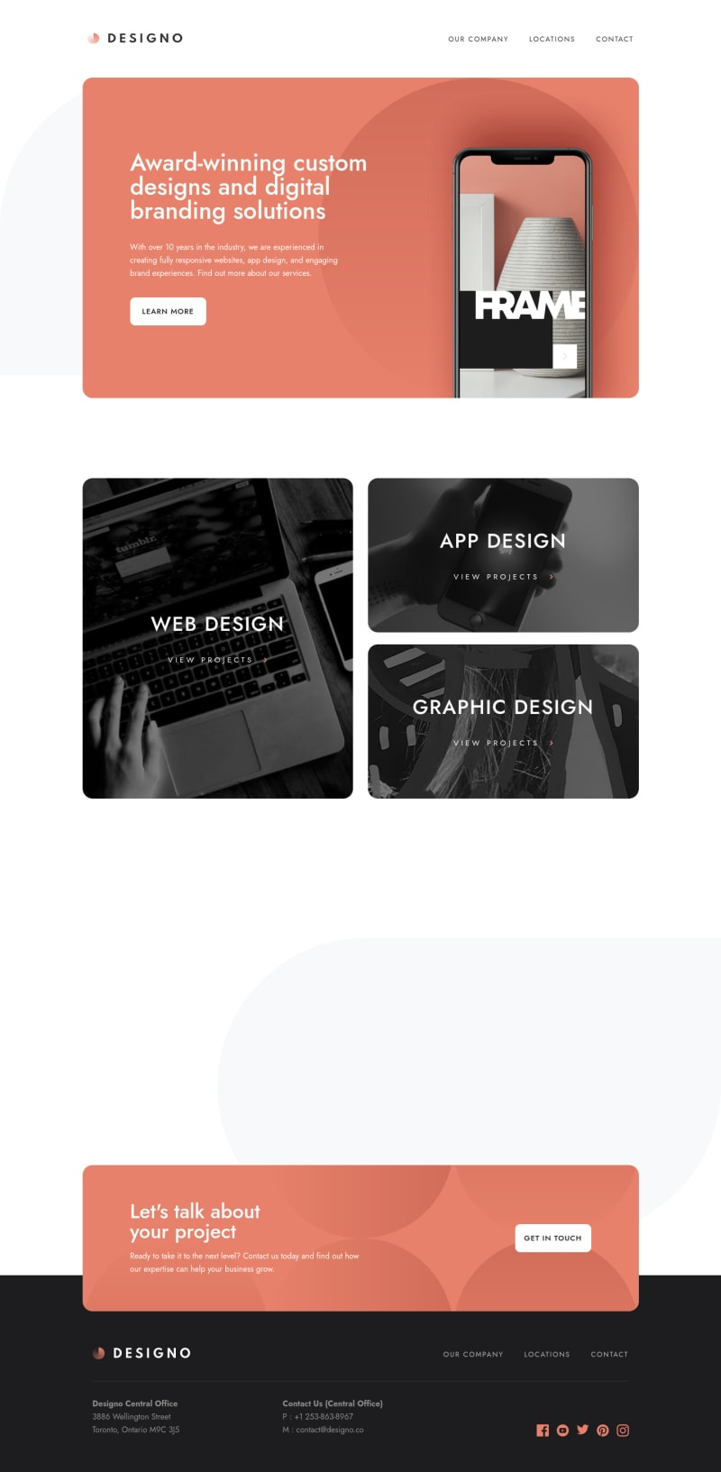 Desktop design screenshot for the Designo multi-page website coding challenge