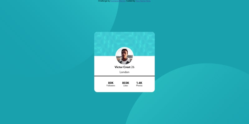 Desktop design screenshot for the Profile card component coding challenge
