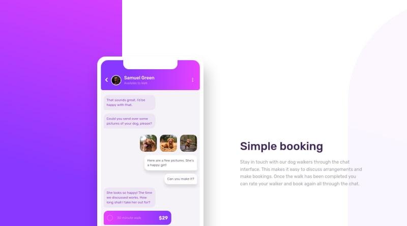 Desktop design screenshot for the Chat app CSS illustration coding challenge