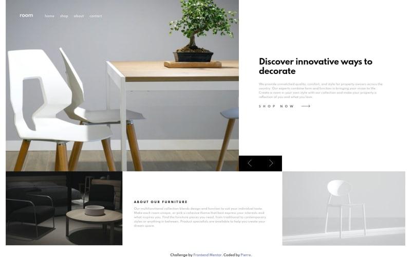 Desktop design screenshot for the Room homepage coding challenge