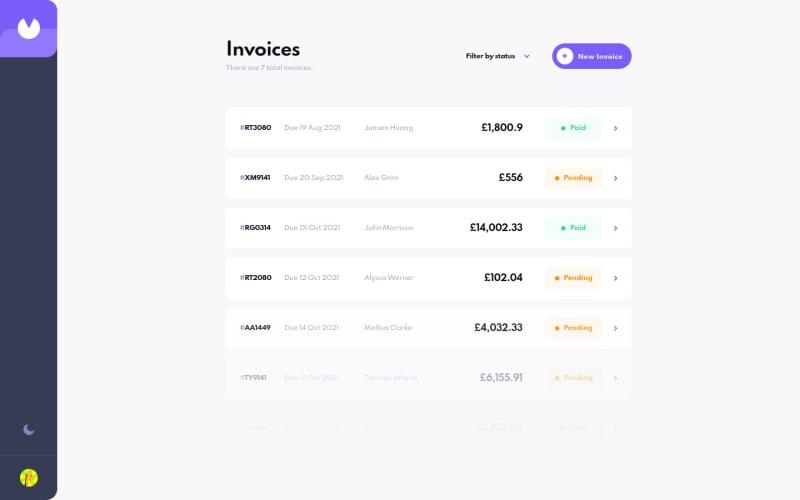 Desktop design screenshot for the Invoice app coding challenge