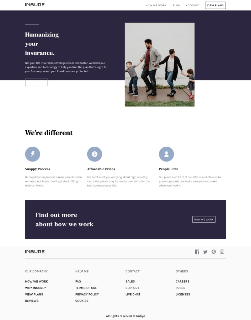 Desktop design screenshot for the Insure landing page coding challenge
