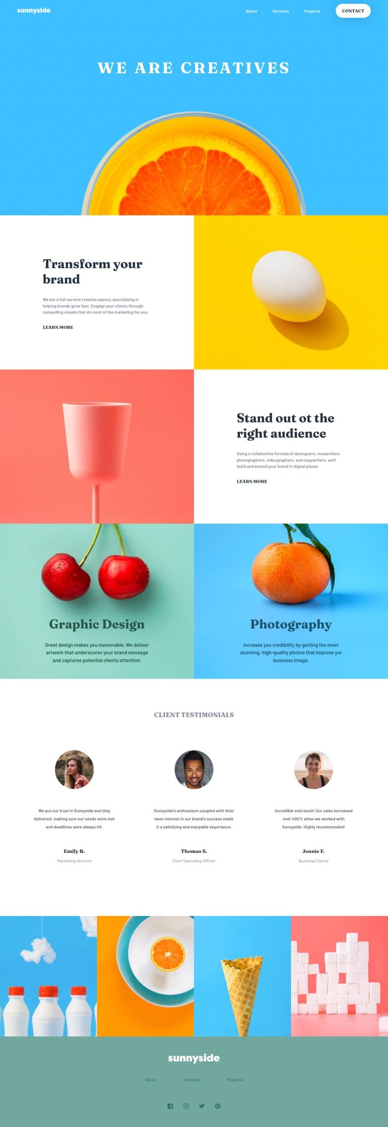 Desktop design screenshot for the Sunnyside agency landing page coding challenge