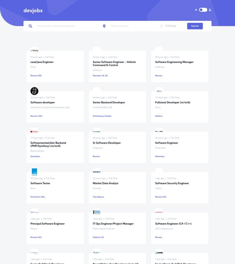 Desktop design screenshot for the Devjobs web app coding challenge