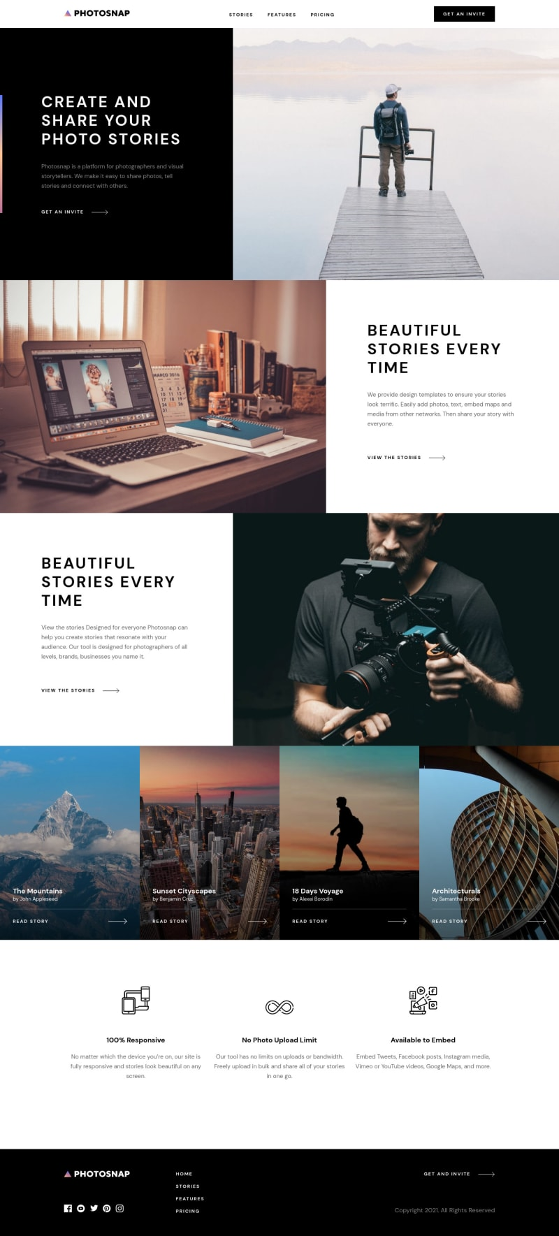 Desktop design screenshot for the Photosnap multi-page website coding challenge