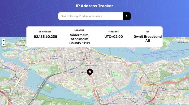 Desktop design screenshot for the IP Address Tracker coding challenge