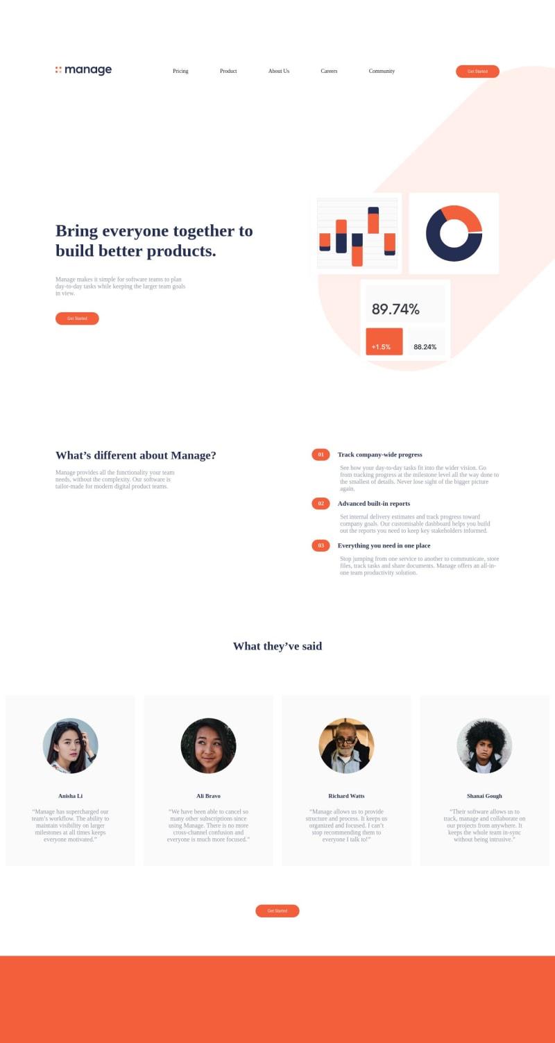 Desktop design screenshot for the Manage landing page coding challenge