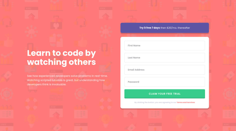 Desktop design screenshot for the Intro component with sign-up form coding challenge