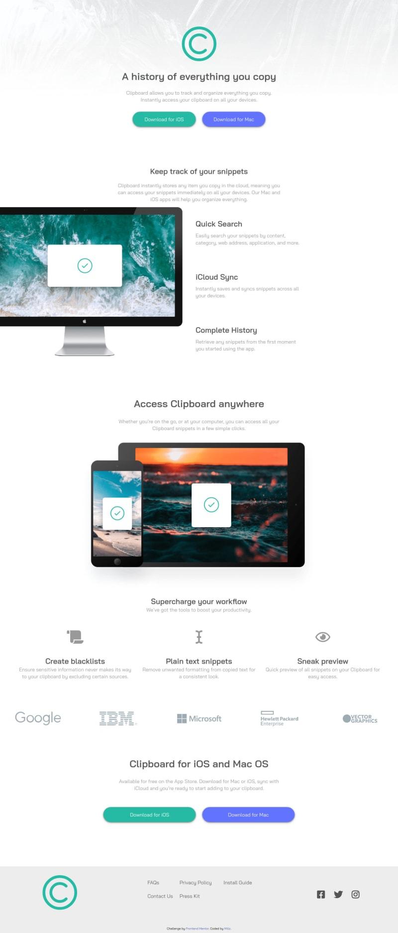 Desktop design screenshot for the Clipboard landing page coding challenge