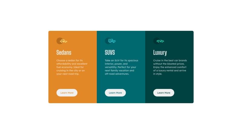 Desktop design screenshot for the 3-column preview card component coding challenge