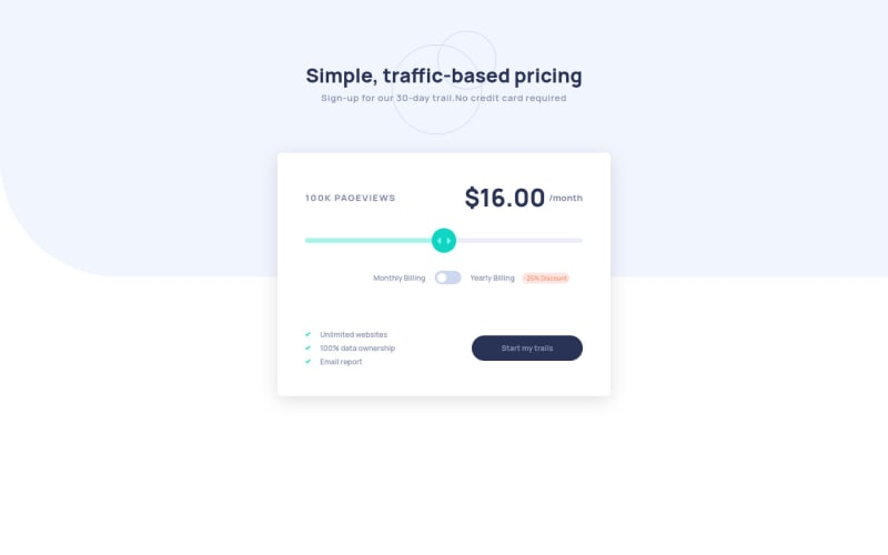 Desktop design screenshot for the Interactive pricing component coding challenge