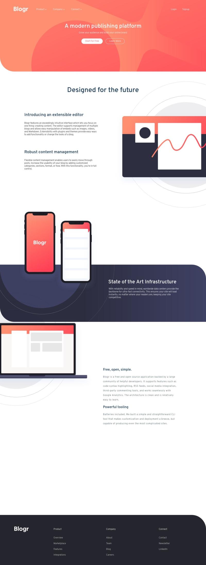 Desktop design screenshot for the Blogr landing page coding challenge