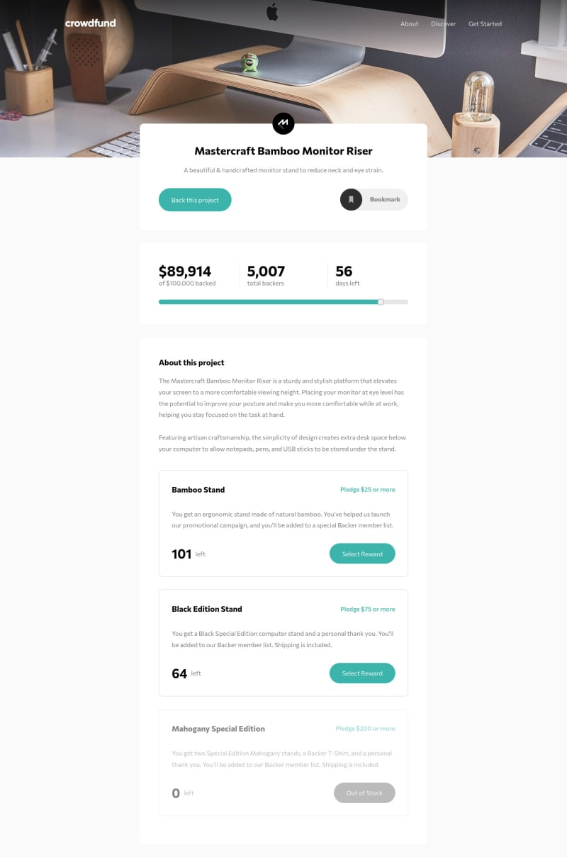 Desktop design screenshot for the Crowdfunding product page coding challenge