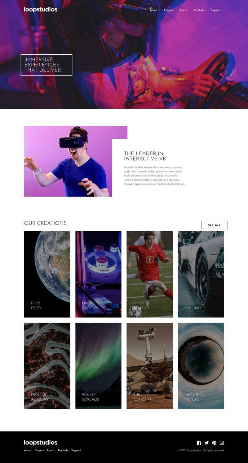 Desktop design screenshot for the Loopstudios landing page coding challenge