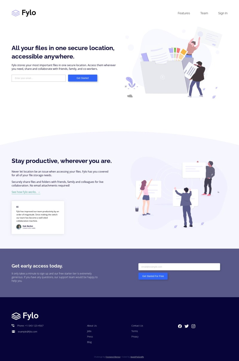 Desktop design screenshot for the Fylo landing page with two column layout coding challenge