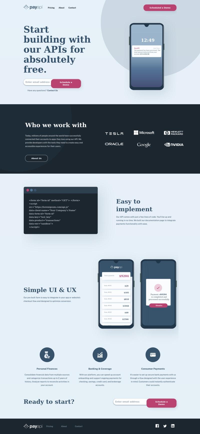 Desktop design screenshot for the PayAPI multi-page website coding challenge