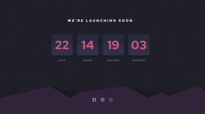Desktop design screenshot for the Launch countdown timer coding challenge
