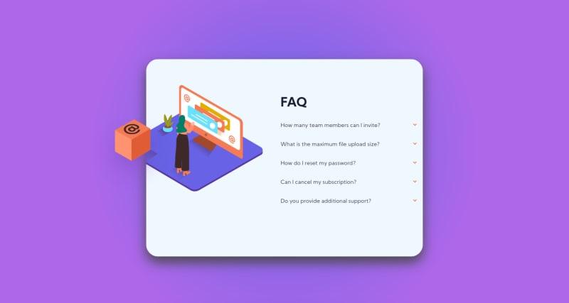 Desktop design screenshot for the FAQ accordion card coding challenge