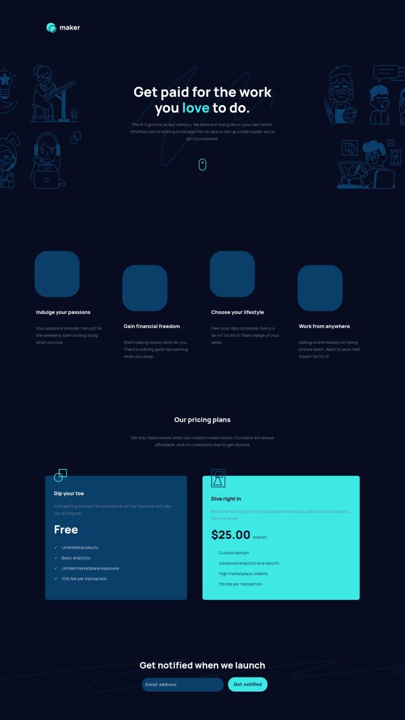 Desktop design screenshot for the Maker pre-launch landing page coding challenge