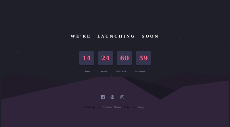 Desktop design screenshot for the Launch countdown timer coding challenge