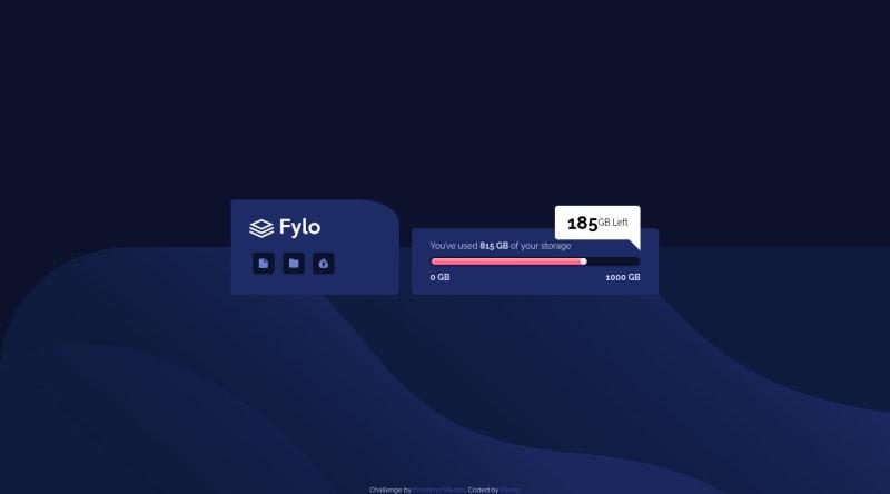 Desktop design screenshot for the Fylo data storage component coding challenge