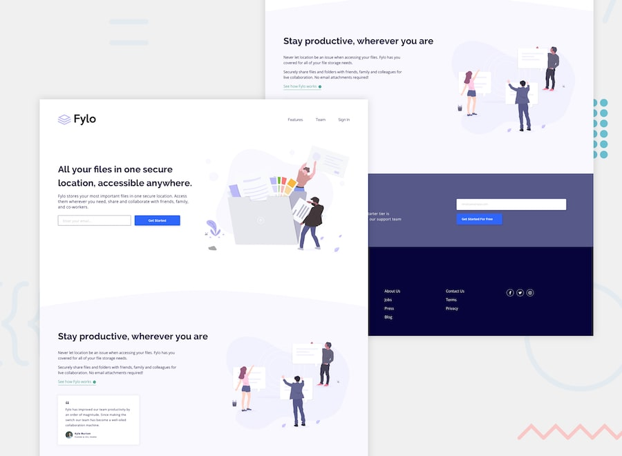 Fylo landing page with two column layout desktop design preview