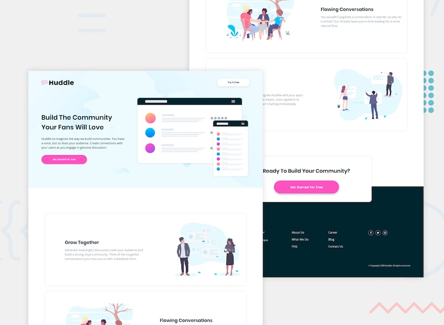 Huddle landing page with alternating feature blocks desktop design preview