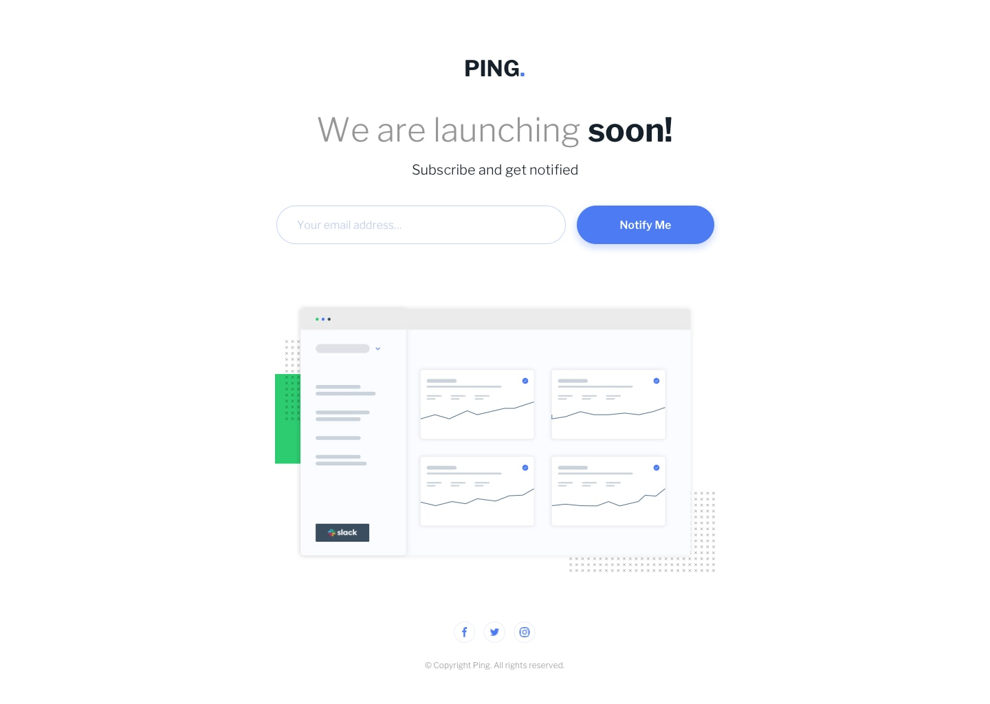 Design preview for Ping single column coming soon page coding challenge