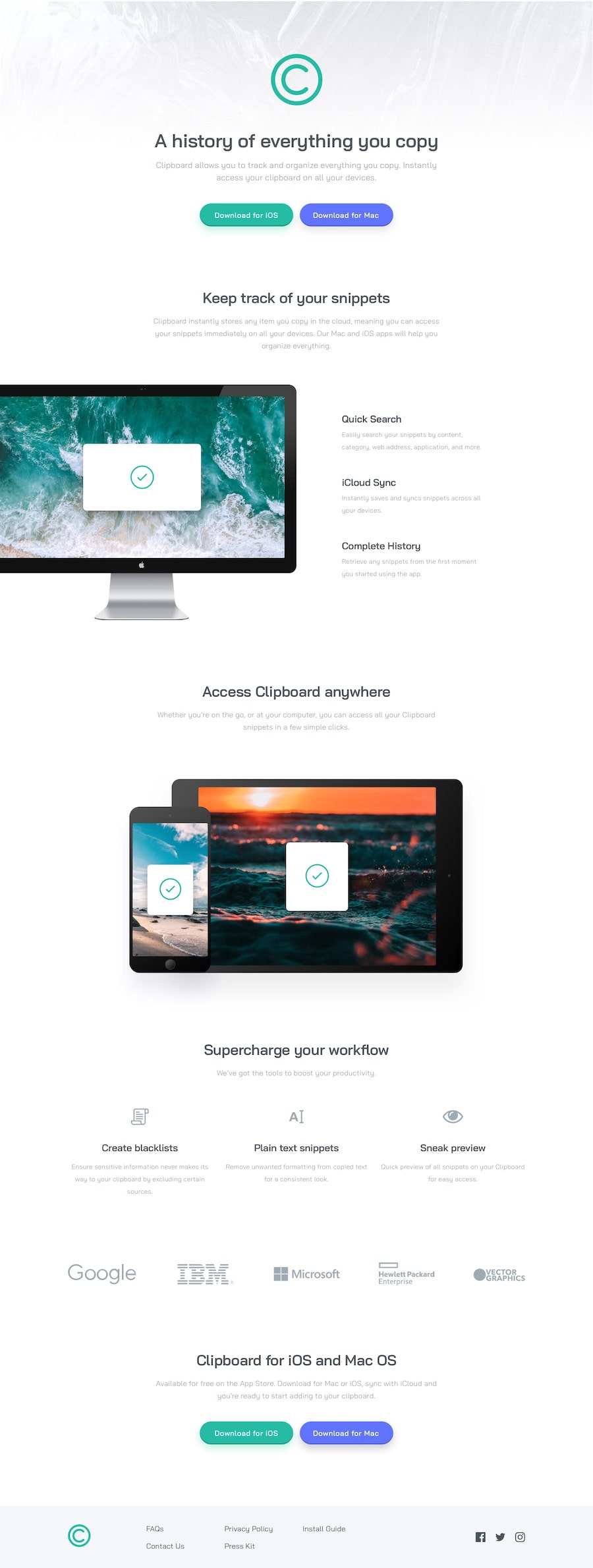 Design preview for Clipboard landing page coding challenge
