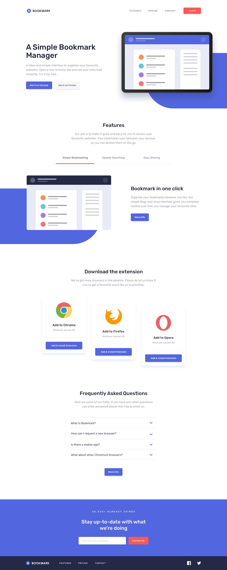 Design preview for Bookmark landing page coding challenge