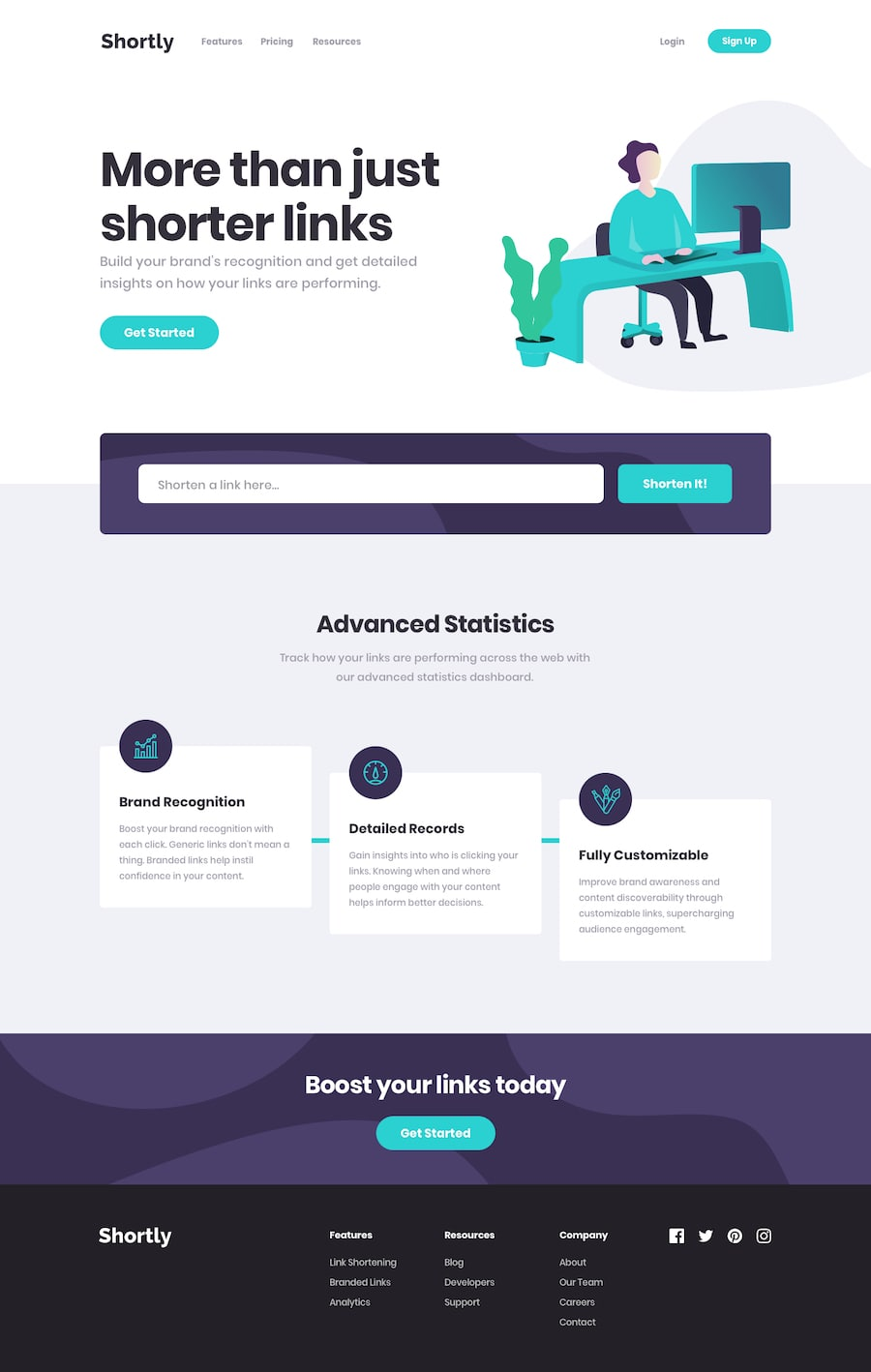 Design preview for URL shortening API landing page coding challenge
