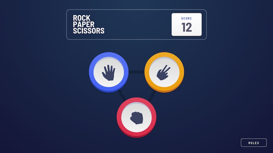 Design preview for Rock, Paper, Scissors game coding challenge