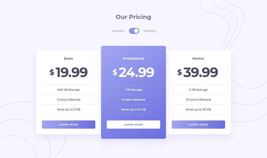 Design preview for Pricing component with toggle coding challenge