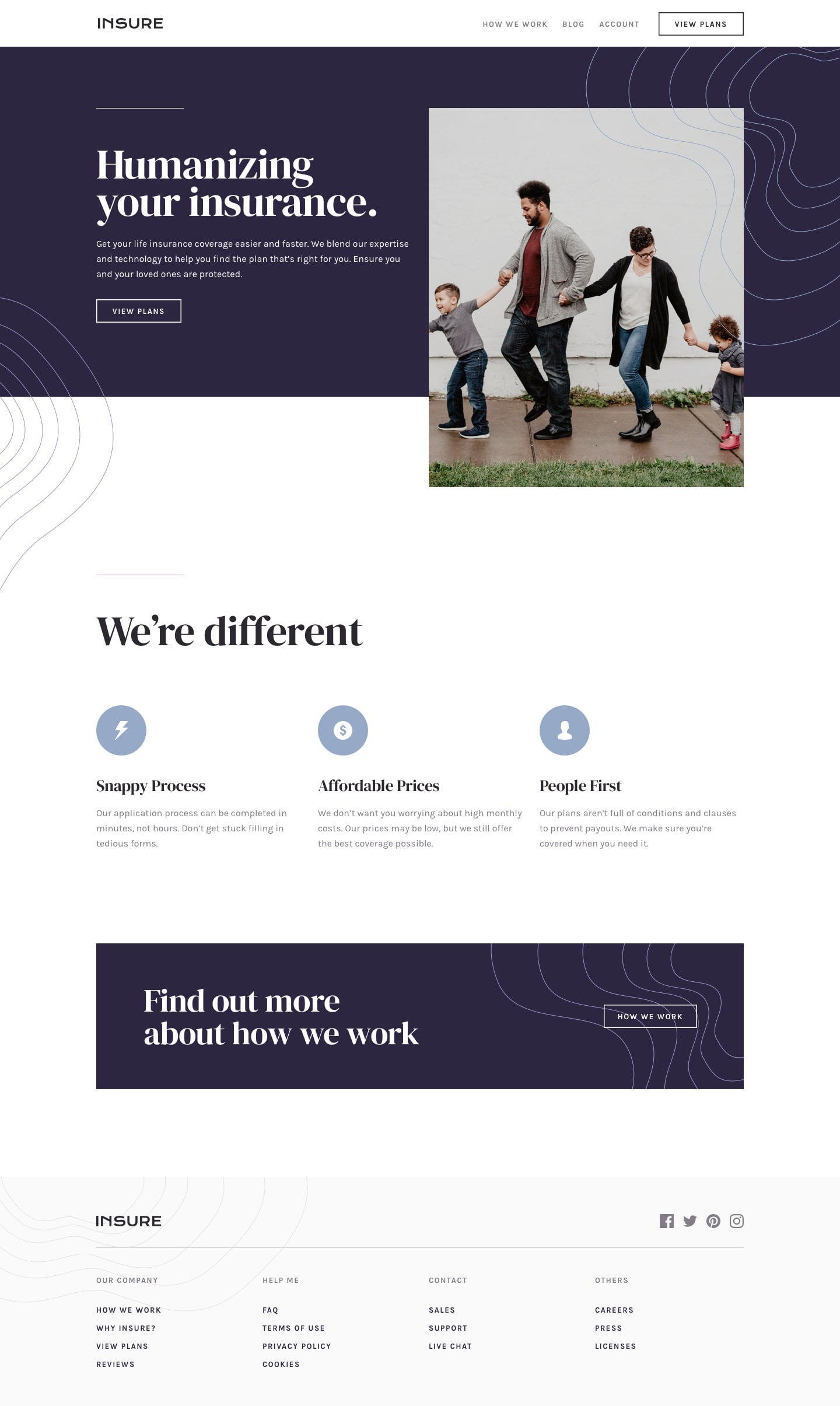 Design preview for Insure landing page coding challenge