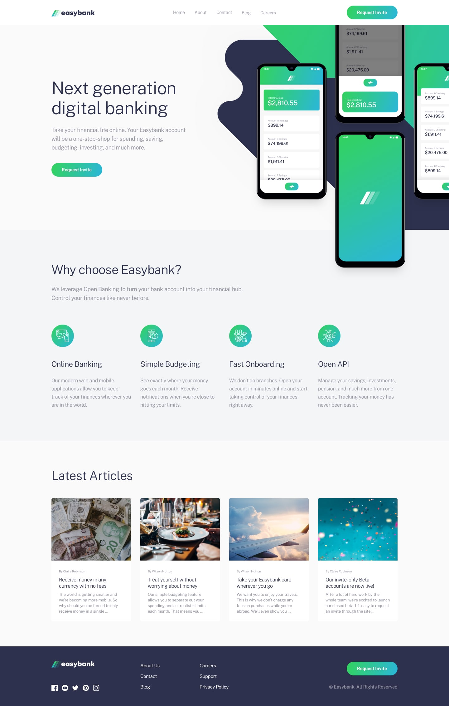 Design preview for Easybank landing page coding challenge