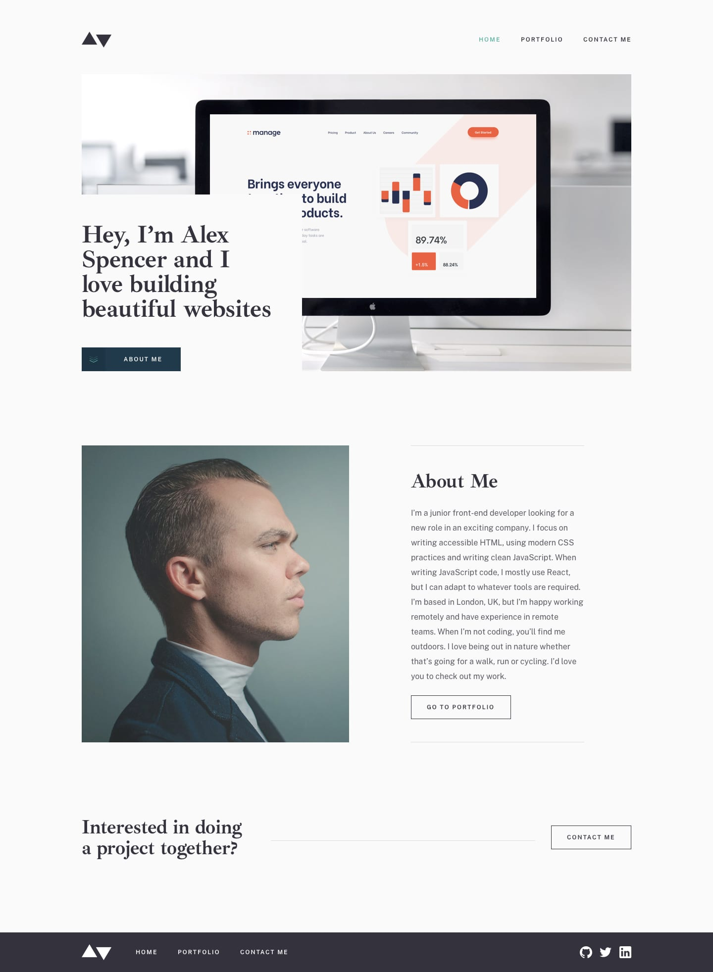 Design preview for Minimalist portfolio website coding challenge