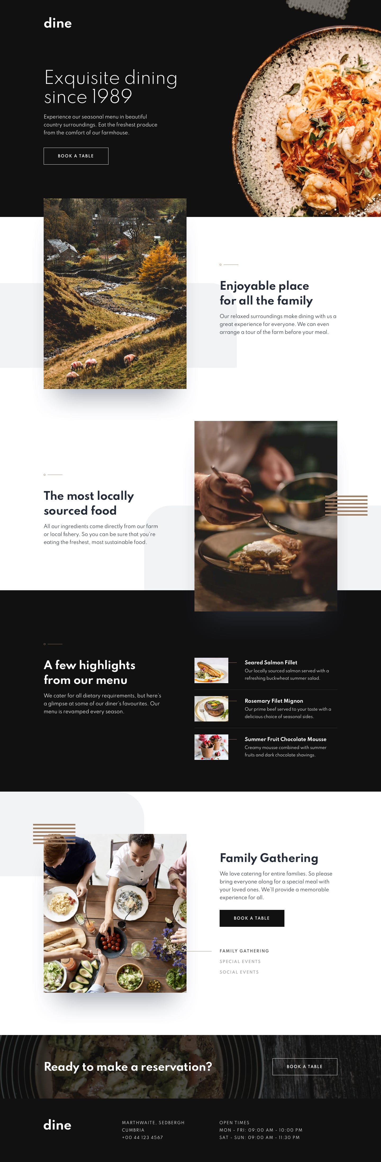 Design preview for Dine restaurant website coding challenge