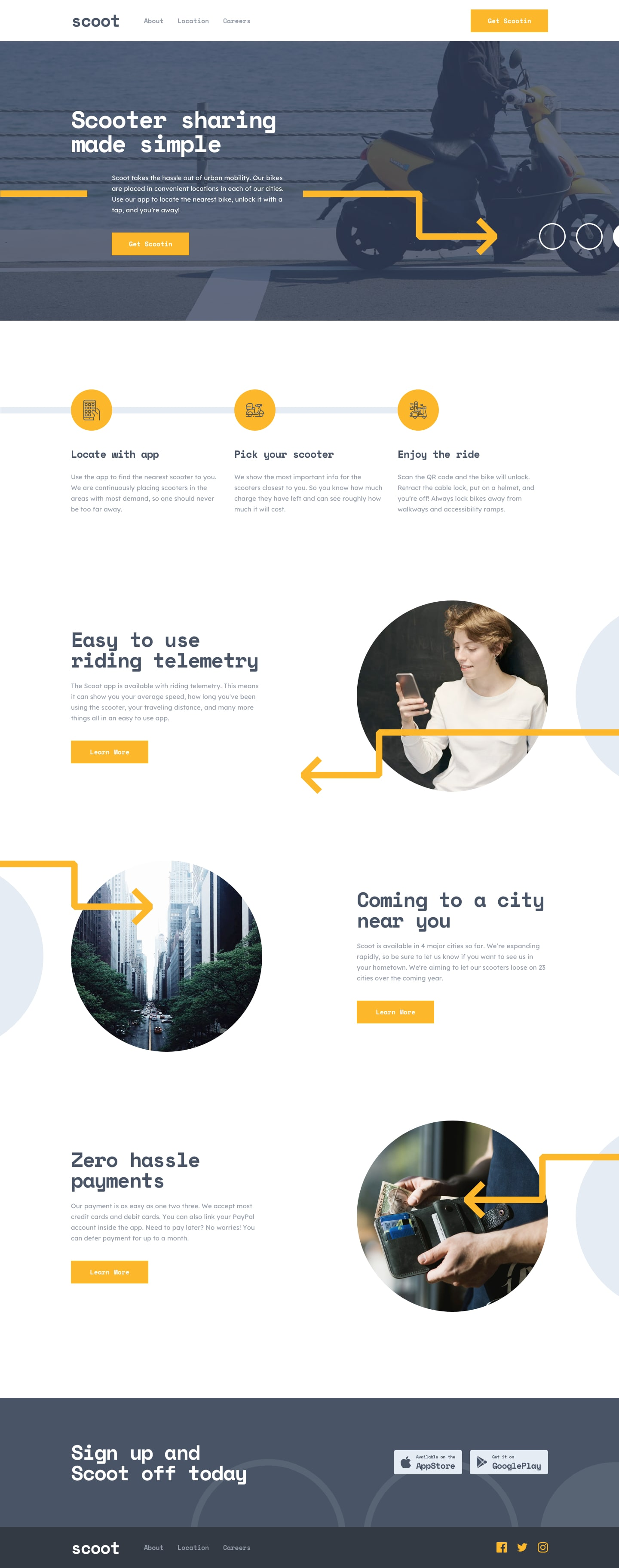 Design preview for Scoot multi-page website coding challenge