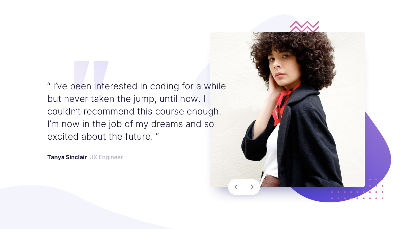 Design preview for Coding bootcamp testimonials slider coding challenge