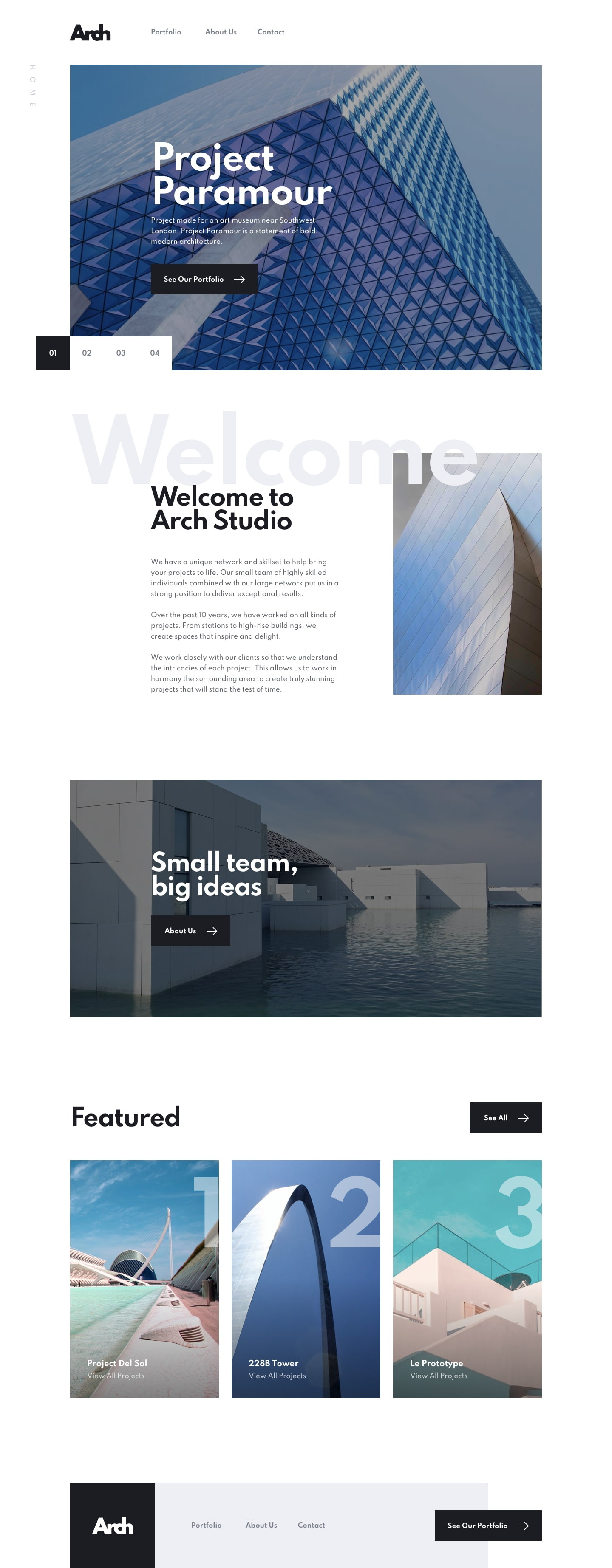 Design preview for Arch Studio multi-page website coding challenge