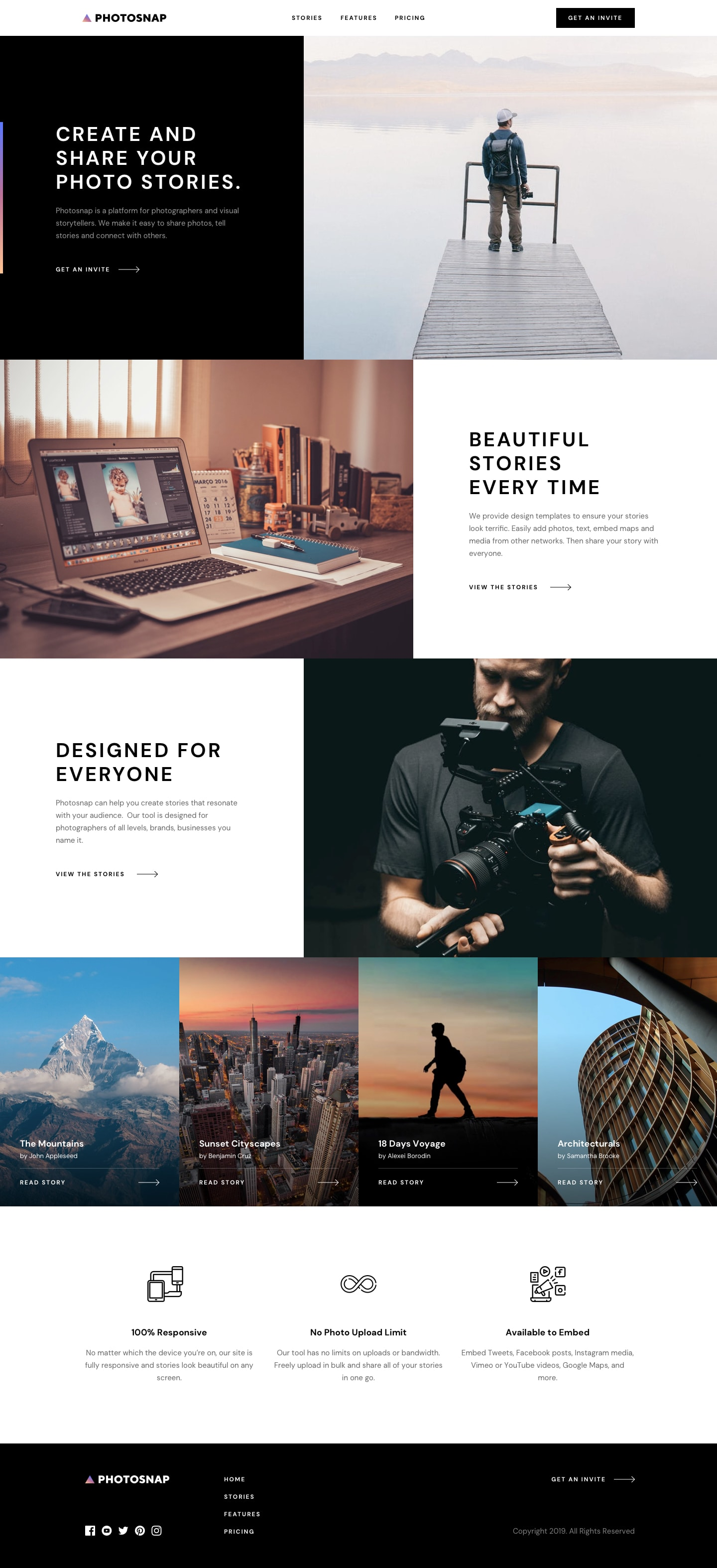 Design preview for Photosnap multi-page website coding challenge