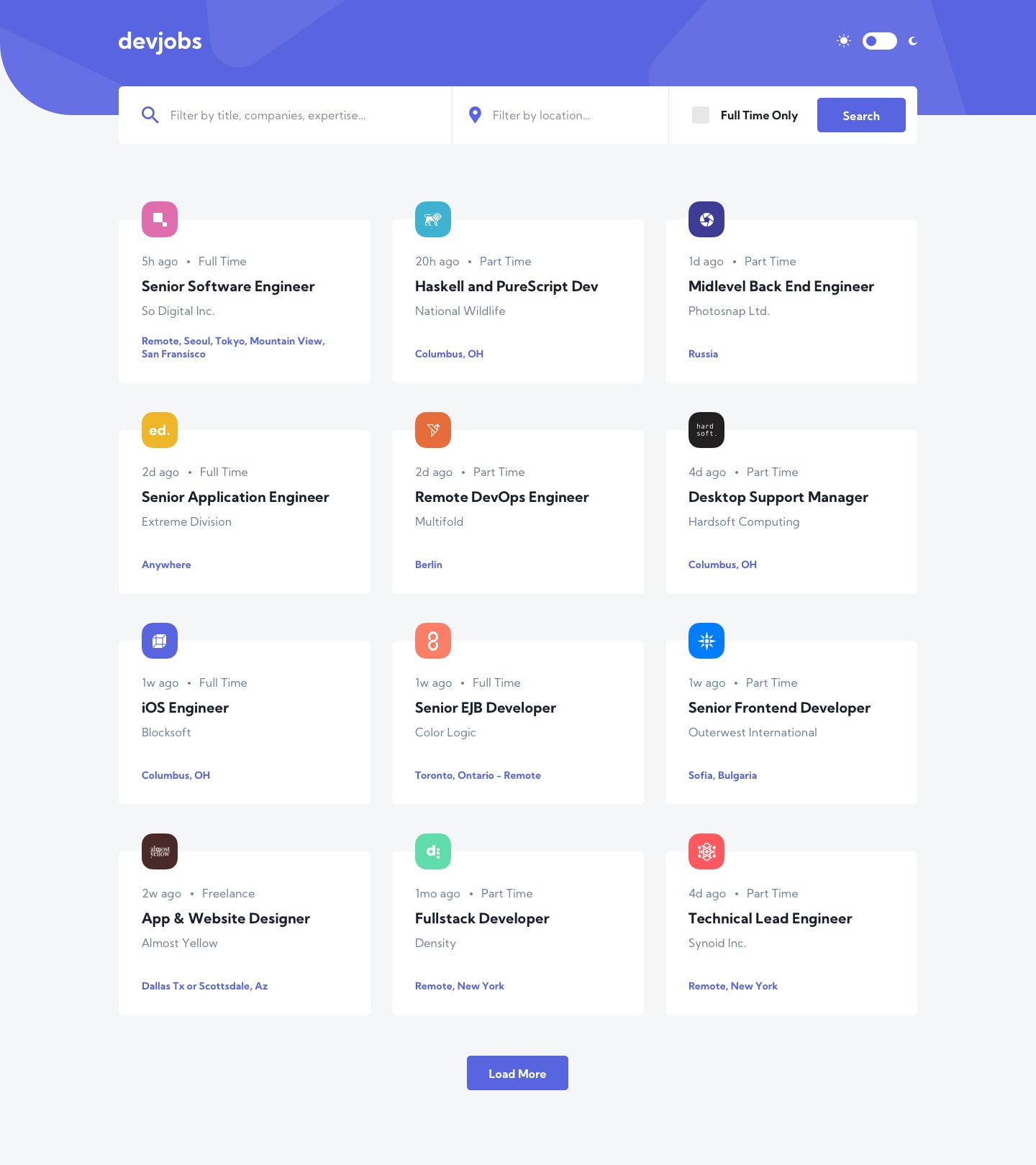 Design preview for GitHub Jobs API coding challenge