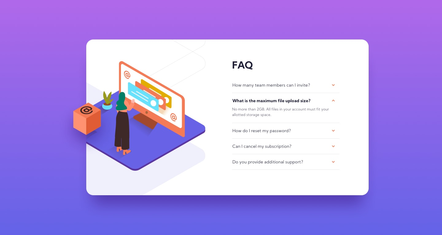 Design preview for FAQ accordion card coding challenge